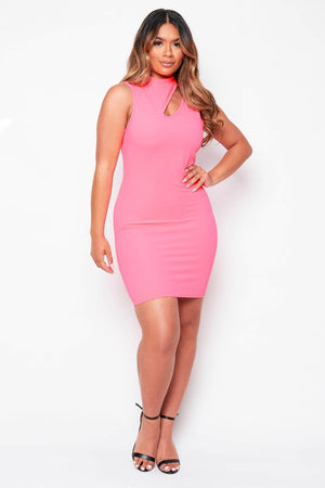 Neon Pink Keyhole Midi Dress
