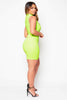 Neon Green Keyhole Midi Dress