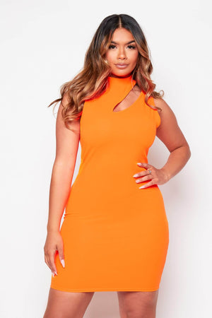 Neon Orange Keyhole Midi Dress