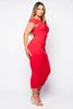 Red Front Knot Cut Out Maxi Dress