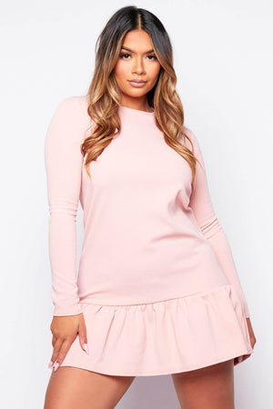 Pink Drop Hem Oversize Dress