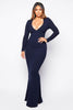 Navy Plunge Fishtail Maxi Dress