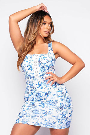 Porcelain Printed Hook Eye Mini Dress