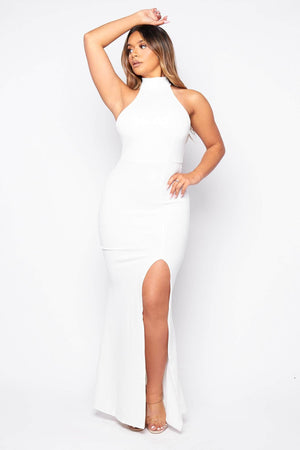 White Halter Neck Split Maxi Dress