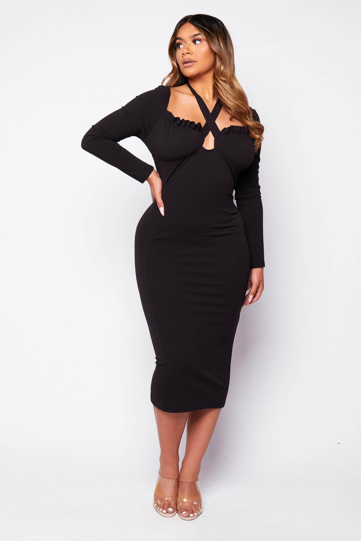 Black Tie Front Milkmaid Midi Dress