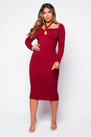 Plus+ Wine Tie Front Milkmaid Midi Dress
