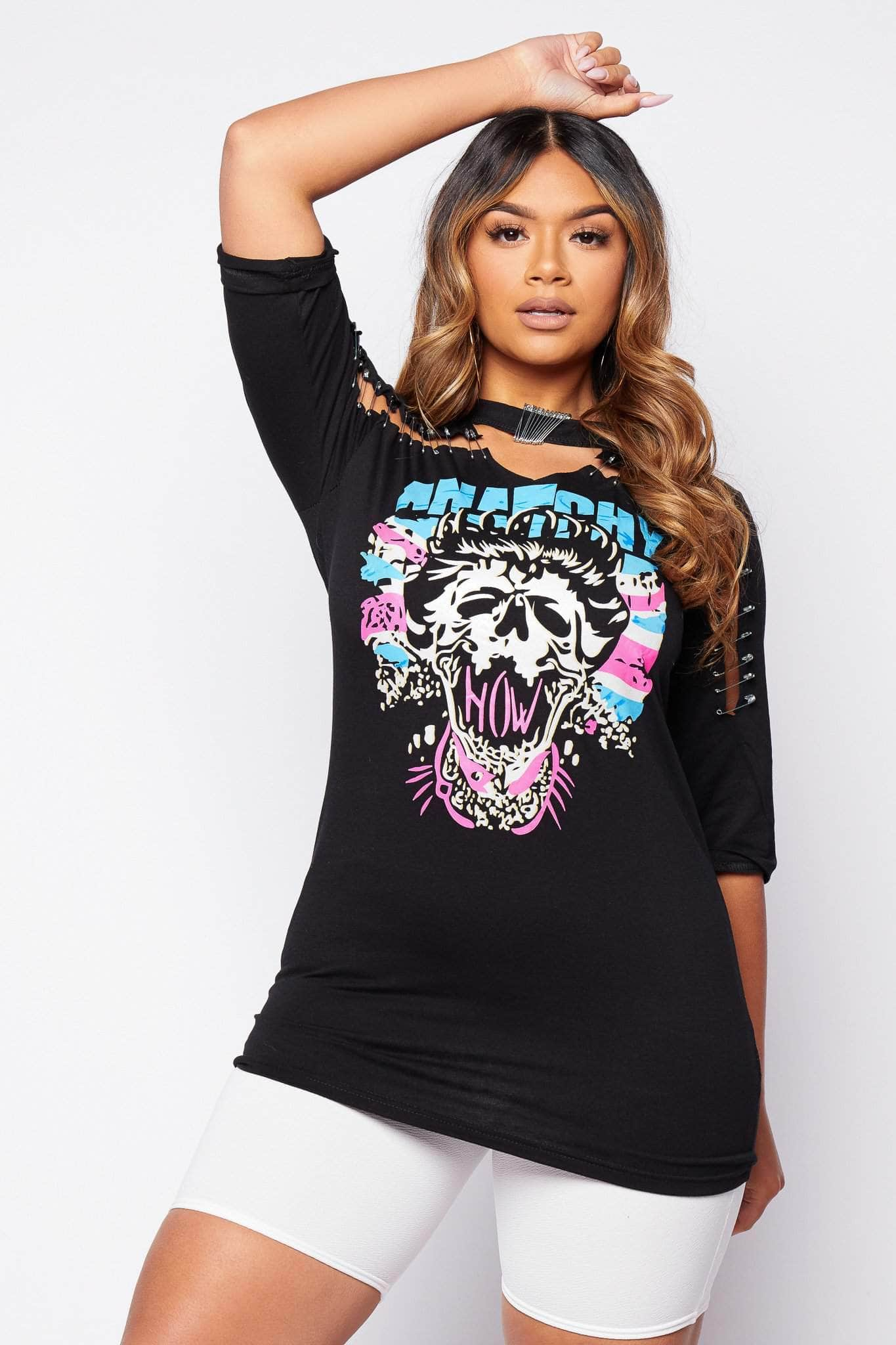 Black Safety Pin Oversize Graphic T.Shirt