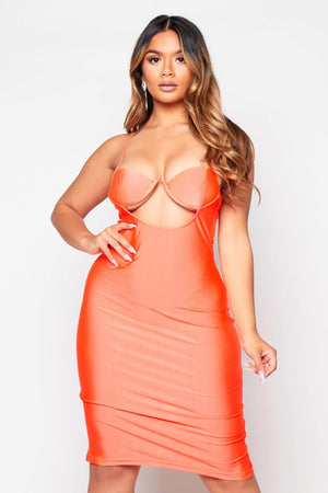 Orange V Bar Bustier Cut Out Dress