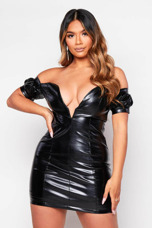 Black Pu Plunge Milkmaid Mini Dress
