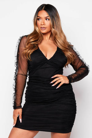 Black Organza Ruched Bodycon Dress