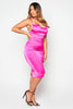 Fuchsia Satin Criss Cross Back Midi Dress