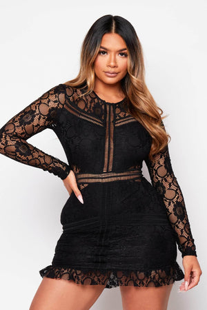 Black Lace Ladder Detail Bodycon Dress