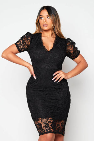 Black Lace Puffball Sleeve Midi Dress