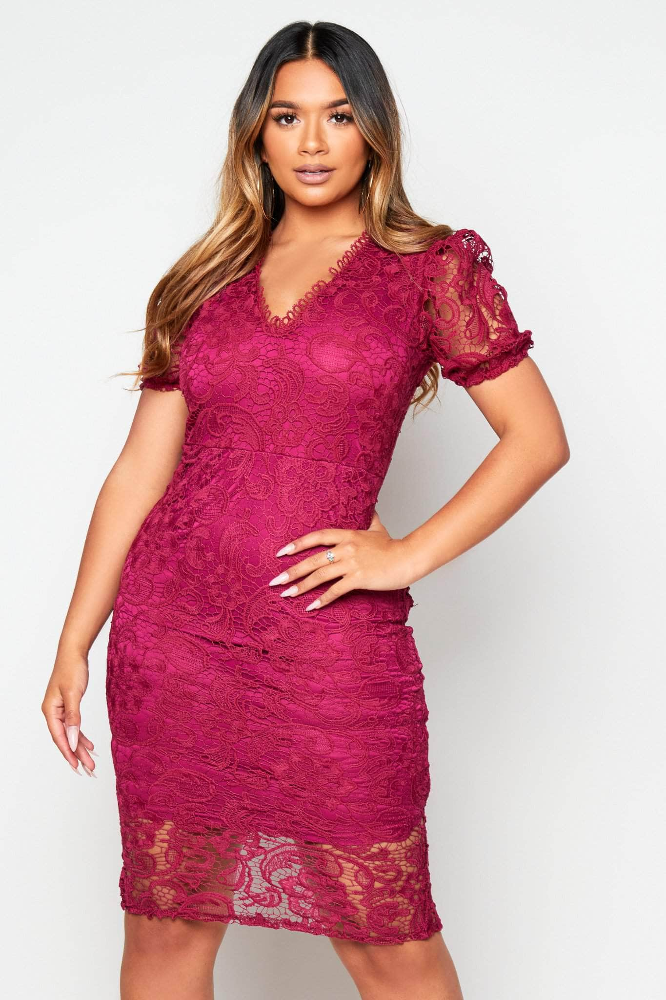 Plum Lace Puffball Sleeve Midi Dress
