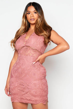 Rose Lace Bodycon Dress with Cap Sleeves