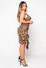 Leopard Printed Cowl Neck Midi Dress