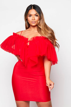 Red Bustier Ruffle Mini Bodycon Dress