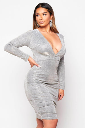 Silver Glitter Metallic Ruched Wrap Dress