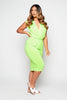 Lime Plunge Gathered Jersey Dress