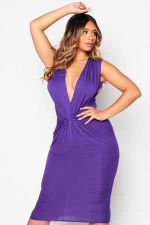 Purple Plunge Gathered Jersey Dress