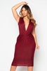 Wine Plunge Gathered Jersey Dress