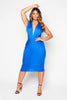 Blue Plunge Gathered Jersey Dress