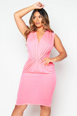 Neon Pink Plunge Gathered Jersey Dress