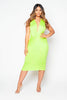 Yellow Plunge Gathered Jersey Dress