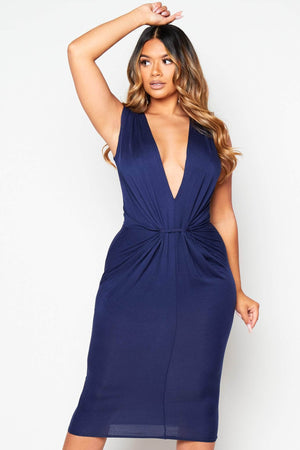 Navy Plunge Gathered Jersey Dress