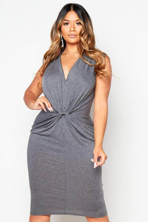 Grey Plunge Gathered Jersey Dress