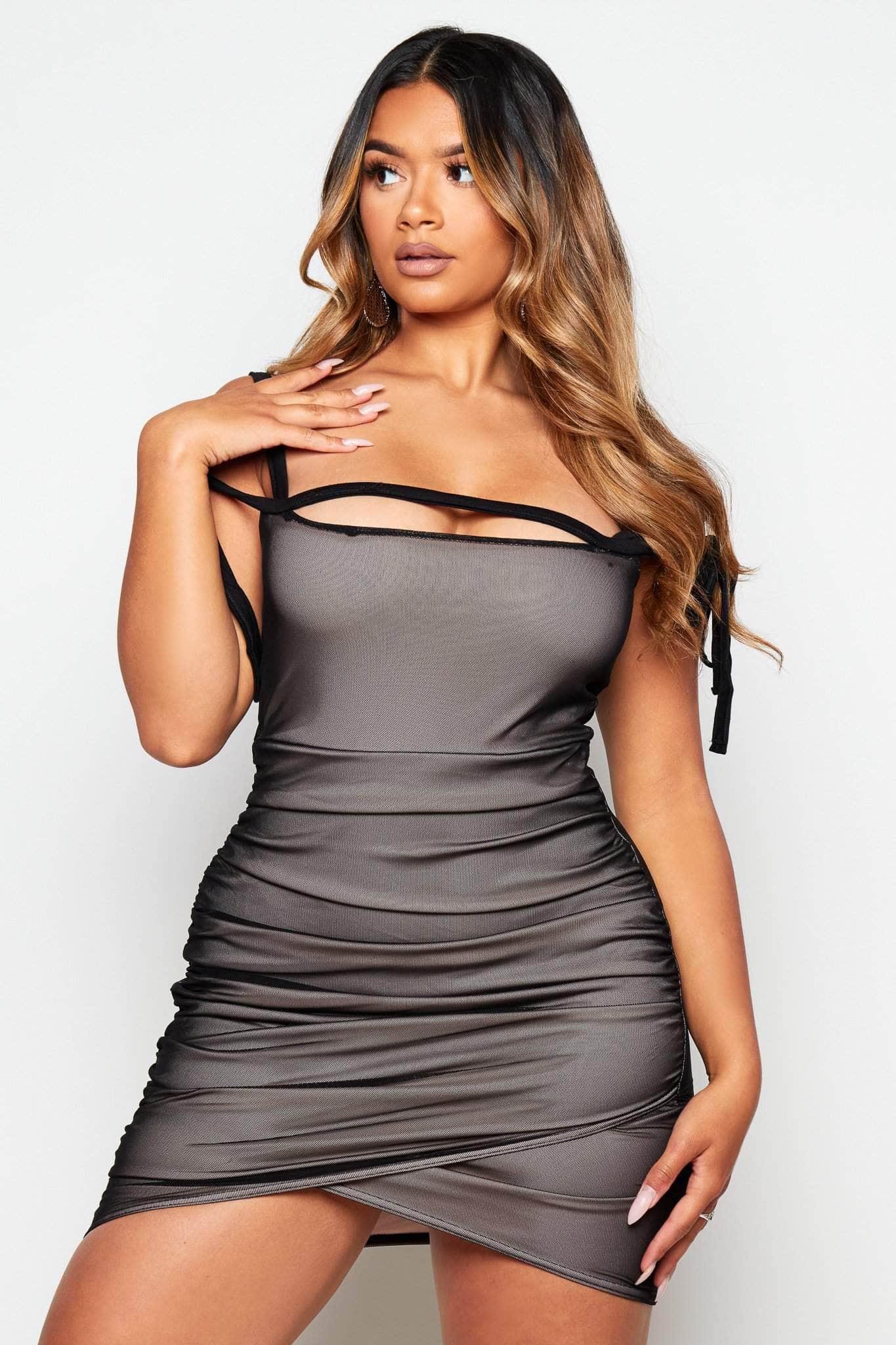 Black Double Layer Mesh Mini Dress