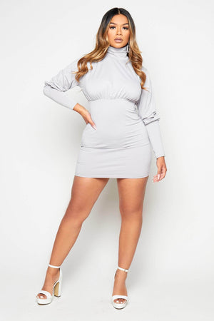 Grey Roll Neck Puff Sleeve Jumper Dress