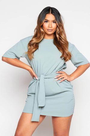 Sage Green Belted Shift Dress