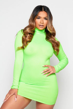 Neon Green Ribbed Bodycon Dress