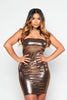 Gold Metallic Bandeau Halter Bodycon Dress