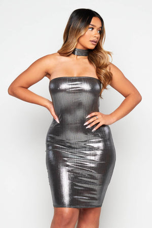 Silver Metallic Bandeau Halter Bodycon Dress