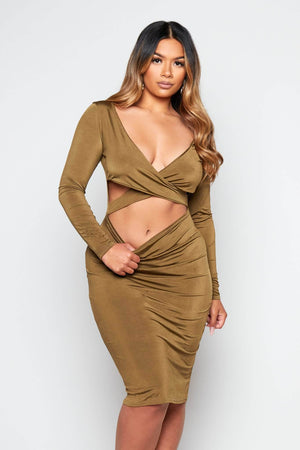 Khaki Slinky Plunge Cut Out Dress