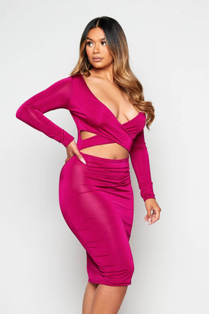 Plum Slinky Plunge Cut Out Dress