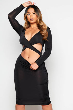 Black Slinky Plunge Cut Out Dress
