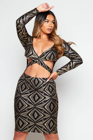 Black & Gold Slinky Plunge Cut Out Dress