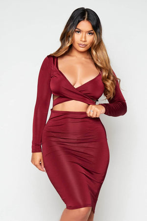 Wine Slinky Plunge Cut Out Dress