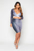 Grey Slinky Plunge Cut Out Dress