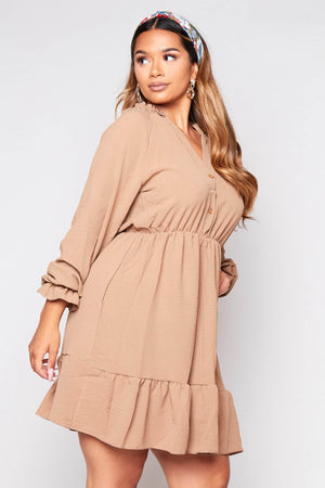 Brown Buttoned Frilly Smock Dress