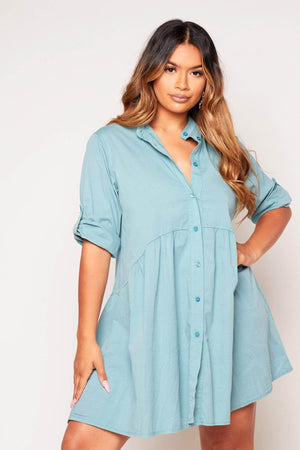 Sage Cotton Buttoned Oversize Smock Dress