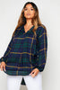 Blue Checked Oversize Open Neck Blouse