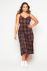 Rust Checked Midi Oversize Cotton Cami Dress