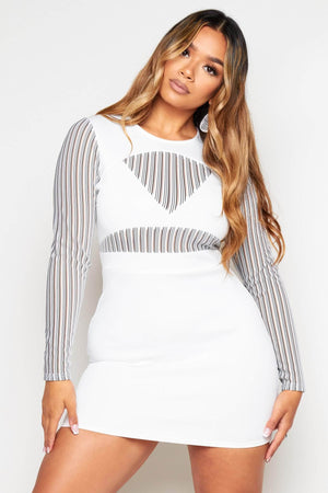 White Cut Out Bodycon with Stripe Mesh Detail