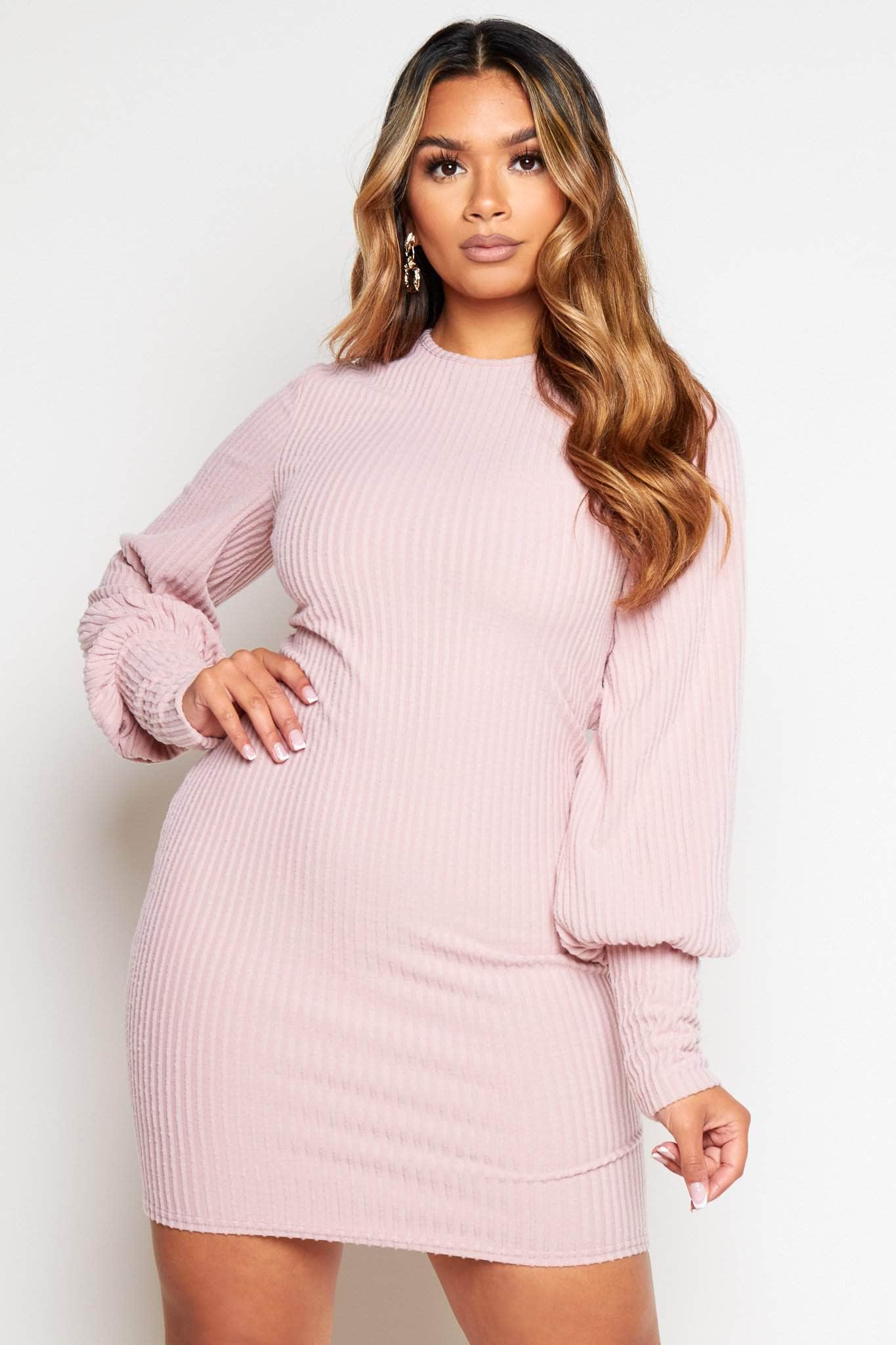 Pink Ribbed Cut Out Back Midi Knit Dress