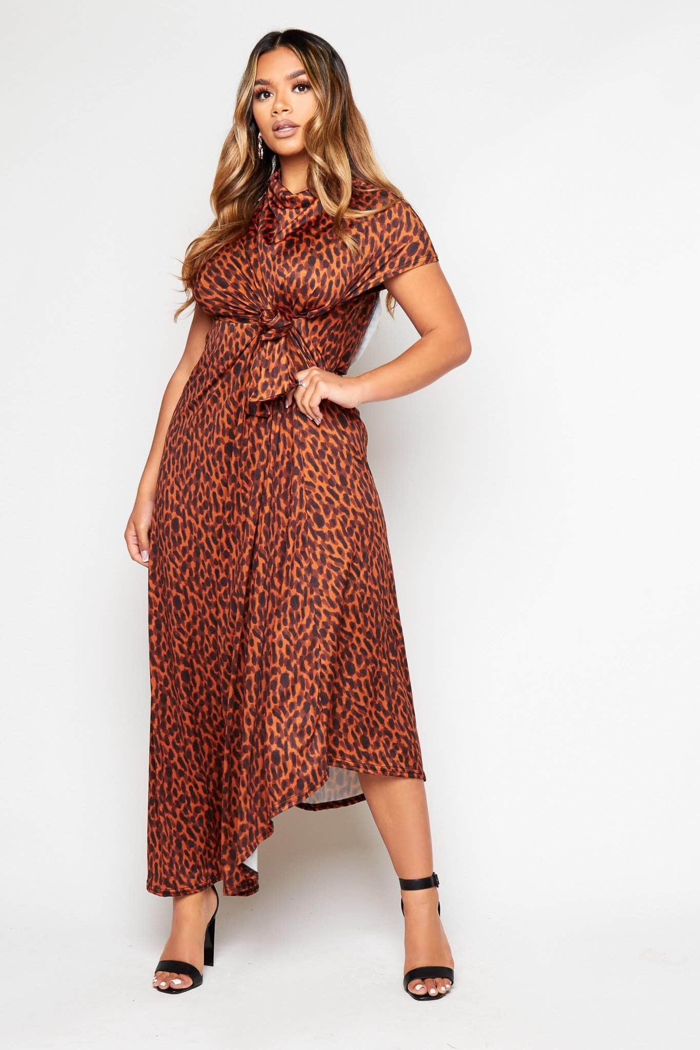 Leopard Oversize Belted Cut Out Smock Dress