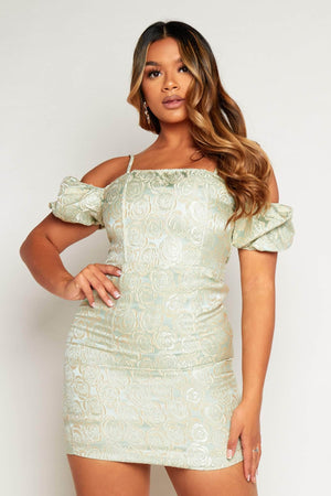 Mint Green Jacquard Bardot Mini Dress